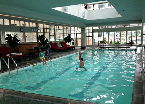 Indoor pool at the Fairmont Hotel Vancouver