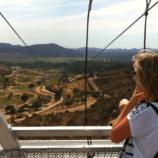 Feeling nervous at the top of the Flightline Safari zipline at the San Diego Zoo Safari Park
