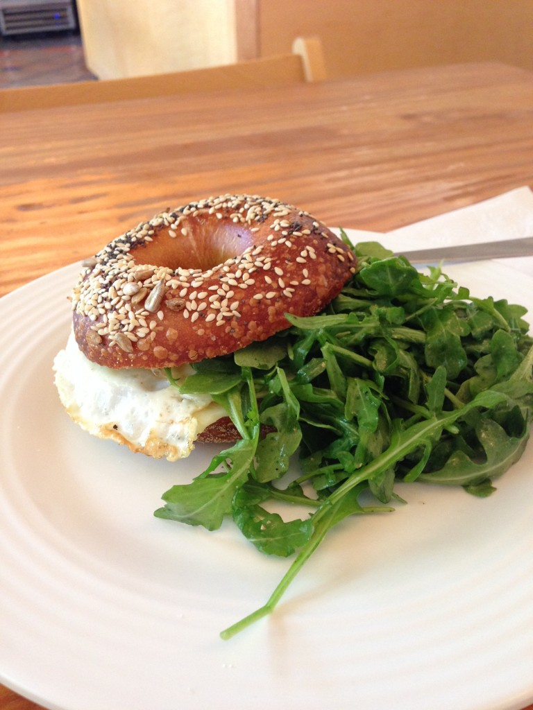 Tasty breakfast sandwich at Knead Bakery, Ojai
