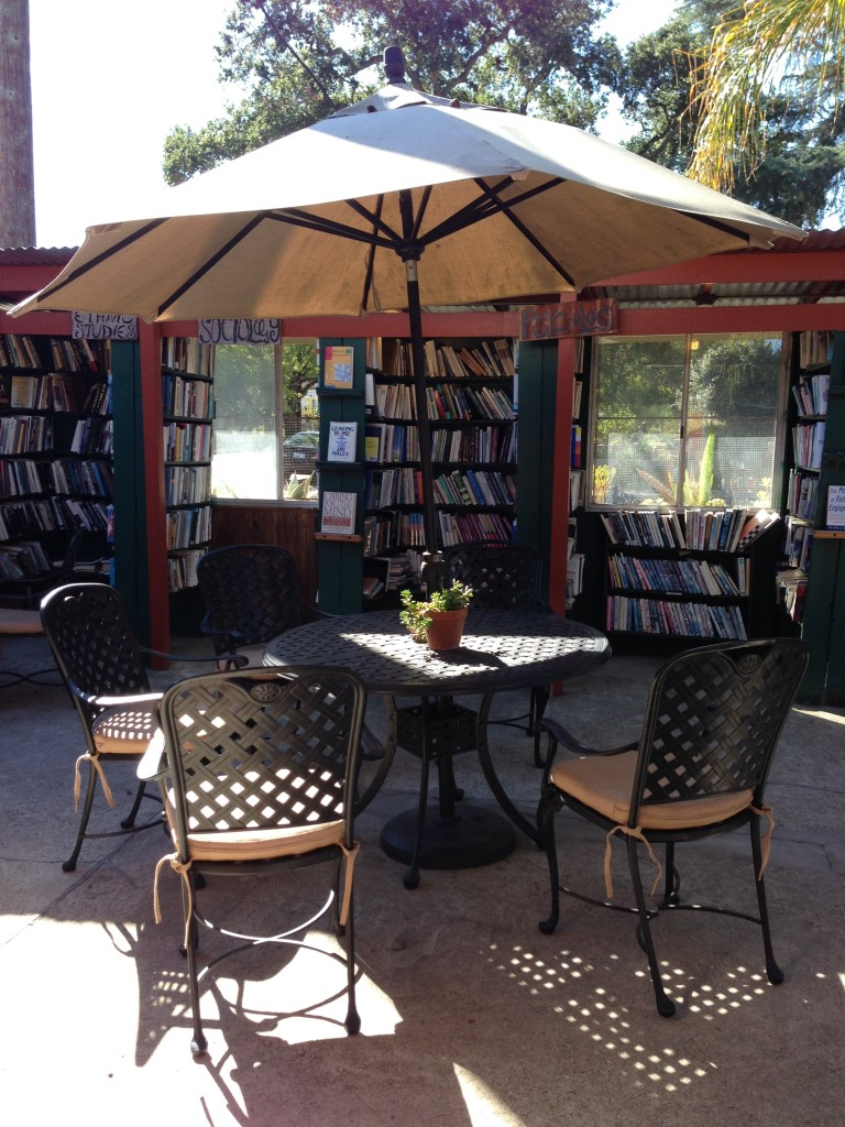 Browsing the amazing selection at Bart's Books in Ojai