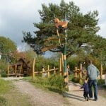 Walking up to one of the playgrounds at the Bostalsee Center Parcs