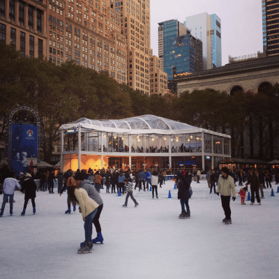 Ice skating rink in New York's Bryant Park