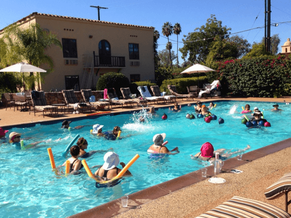 Water aerobics class at the Oaks