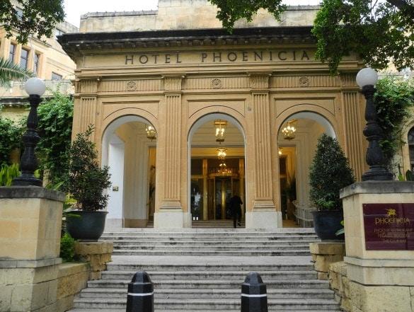 Entry at Hotel Phoenicia, Malta.