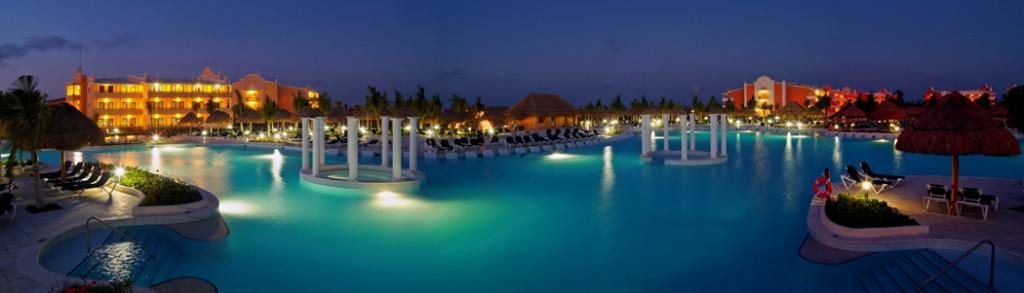 Grand Palladium Riviera pool at night