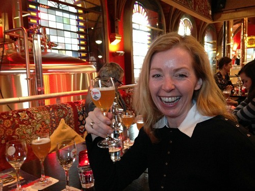 Jody Robbins in a Dutch beer hall