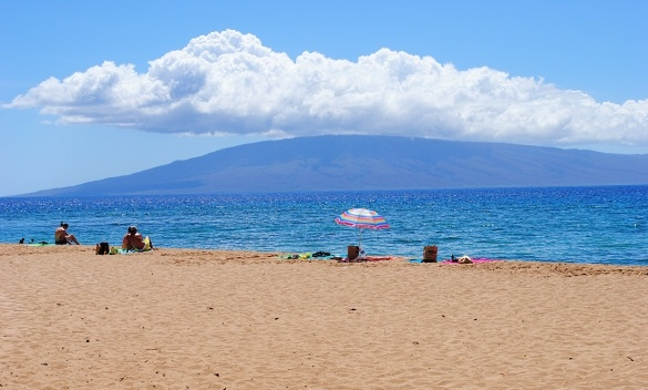 Kaanapali Beach with Molokai in the distance