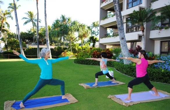 Yoga on the front lawn
