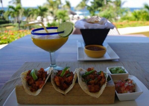 Tacos and mango margarita at Four Seasons Punta Mita
