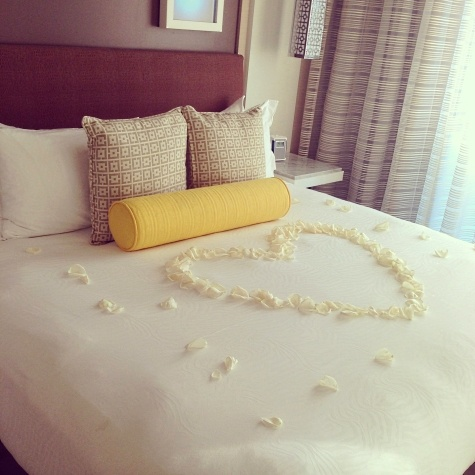 Rose petal turn-down at The Hotel Wilshire in Los Angeles