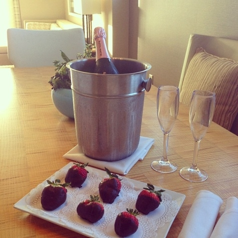 Chocolate-covered strawberries and pink sparkling wine kicked off our Suite Surprise getaway