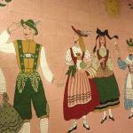 Bavarian-themed mural at Hofsas House