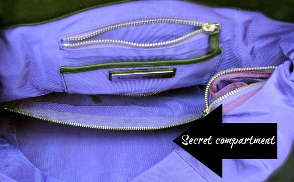 Overtime Bag's secret compartment for storing cords