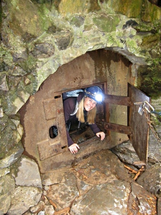I can't believe I'm going in here. Caving at Horne Lake.