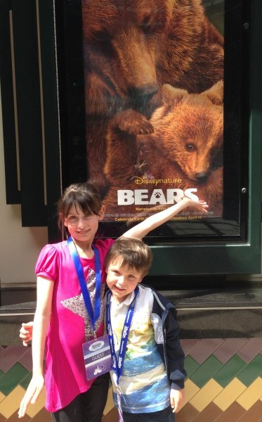 My cubs at the Disney Bears movie preview