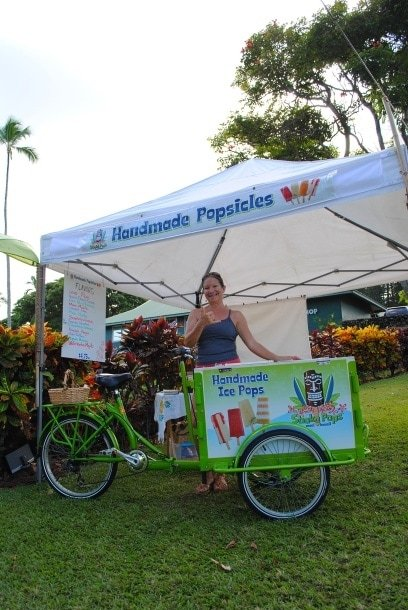 "Angela, a Hana transplant from Venezuela, manning her Shaka Pops handmade popsicle stand in ""downtown"" Hana"