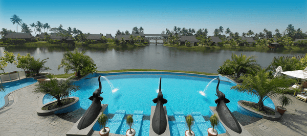 The elephant-bedecked pool at Zuri Kumarakom Kerala Resort & Spa in India