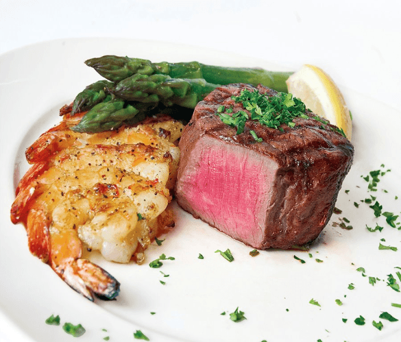 Filet mignon and grilled shrimp at the Chop House