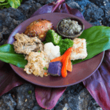 Traditional Hawaiian foods served at the Sheraton Maui luau