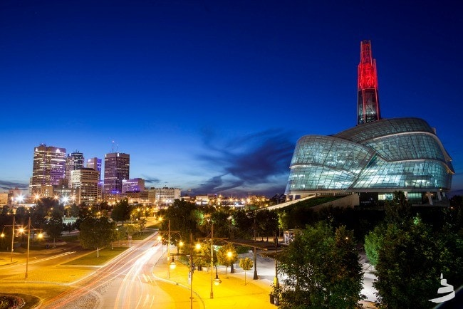 The exterior of the Canadian Museum for Human Rights resembles the folded wings of a dove. (Photo credit: CMHR)