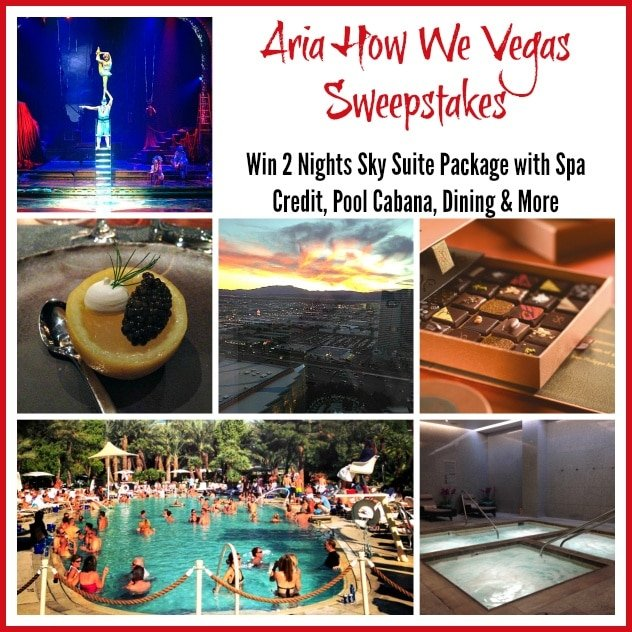 Aria How We Vegas Sweepstakes - Giveaway includes two nights in an Aria Sky Suite, $500 Dining Credit, $300 Spa Credit, Cabana and $300 Pool Credit, Two Tickets to Zarkana by Cirque du Soleil and a Welcome Gift from Jean Philippe Patisserie.