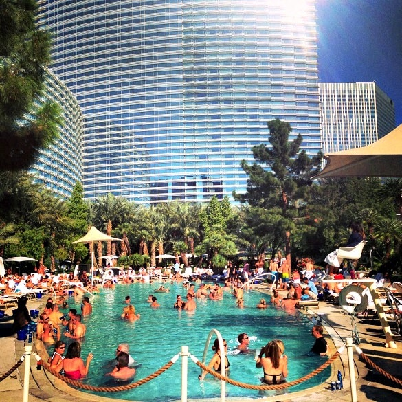Lots of action at the Aria pool in Las Vegas