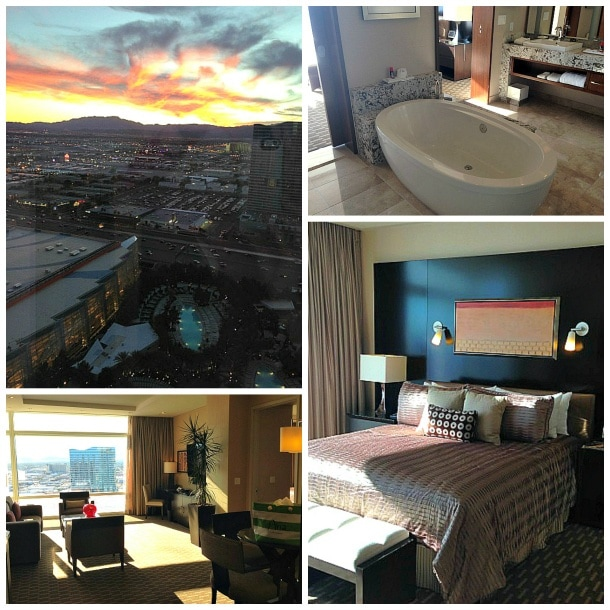 Aria Sky Suite sunset view, bath tub, bedroom and living area in Las Vegas