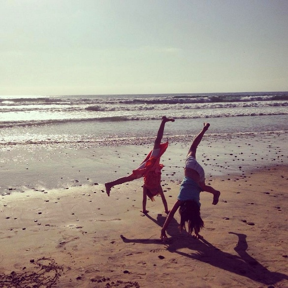 Back to San Diego - Turning cartwheels at the beach in San Diego