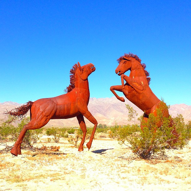 Two of the many sculptures by Artist Ricardo Breceda that you'll find sprinkled through the Borrego Springs desert landscape (Photo credit: Colleen Lanin)