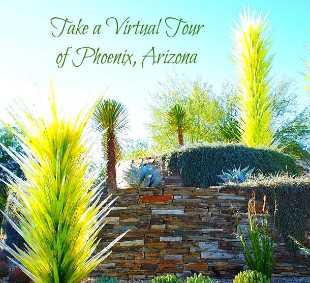 Take a virtual tour of Arizona's Phoenix Metro Area - Photo of the Chihuly glass sculptures amid cactus at the Desert Botanical Garden (Photo credit: Colleen Lanin)