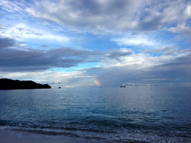 Rainbow over the beautiful beach at Westin Playa Conchal (Photo credit: Claudia Laroye)
