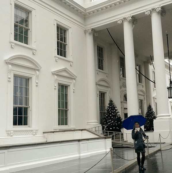 Standing in front the White House during the White House Travel Bloggers Summit on Global Citizenship and Study Abroad