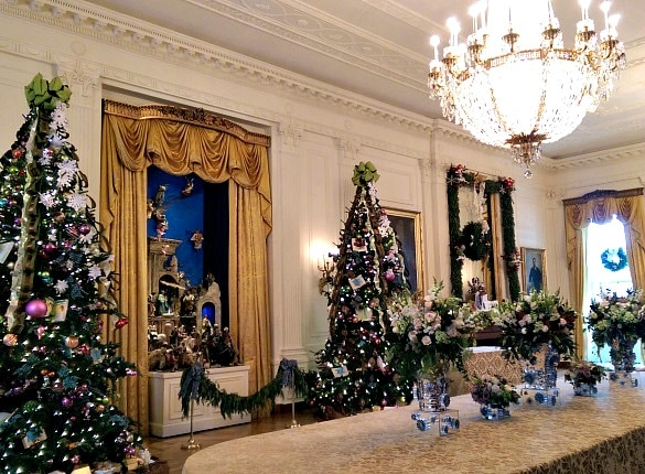 White House East Room featuring a Christmas nativity scene (Photo credit: Colleen Lanin)