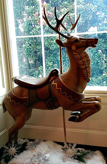 An antique carousel reindeer on display in the White House's East Room (Photo credit, Colleen Lanin)