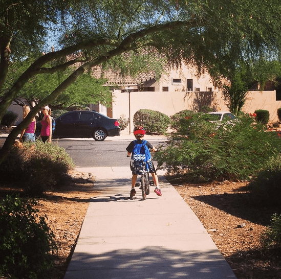 My kids enjoy riding their bicycles to school in Arizona (Photo credit: Colleen Lanin)