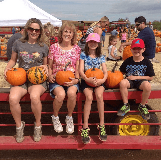 Collecting pumpkins with Grandma Ellen at Old MacDonald's Ranch (Photo credit: Colleen Lanin)