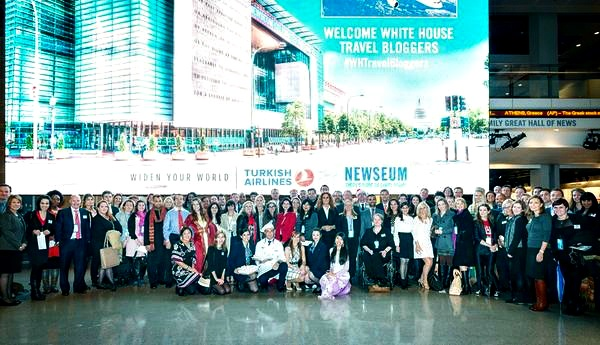 Can you find me standing next to TV's Samantha Brown in this group photo taken at the White House Travel Bloggers Summit?
