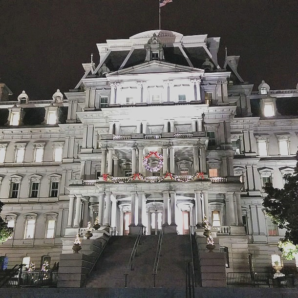 The Eisenhower Executive Building dolled up for the holidays