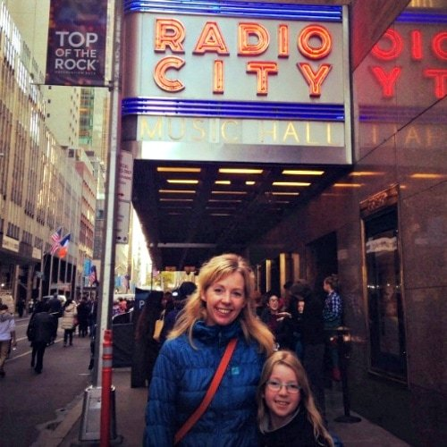 Mother-daughter at Radio City Music Hall in New York City