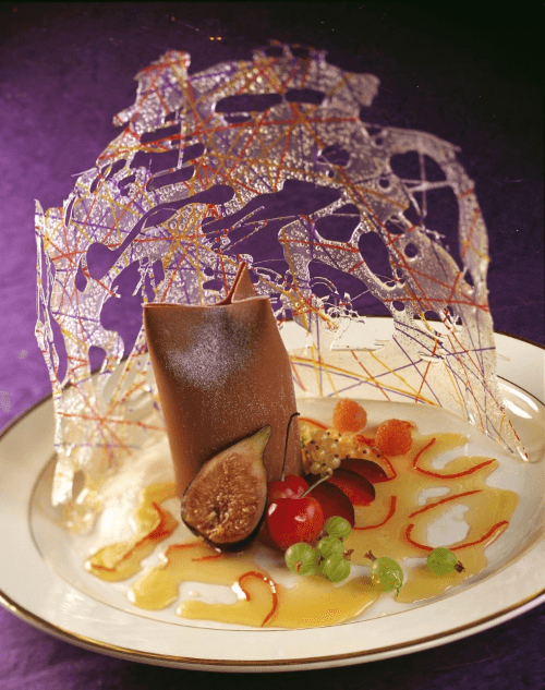 "Chocolate ""Purse"" with Seasonal Fruits at Victoria & Albert's, Disney's Grand Floridian Resort & Spa (Photo credit: Disney)"