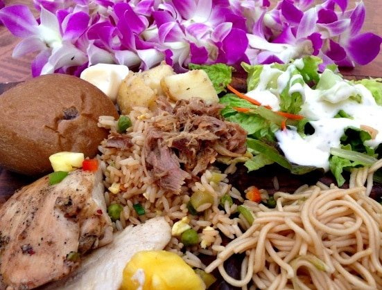 Traditional Hawaiian foods at the Maui Nui Luau at Black Rock