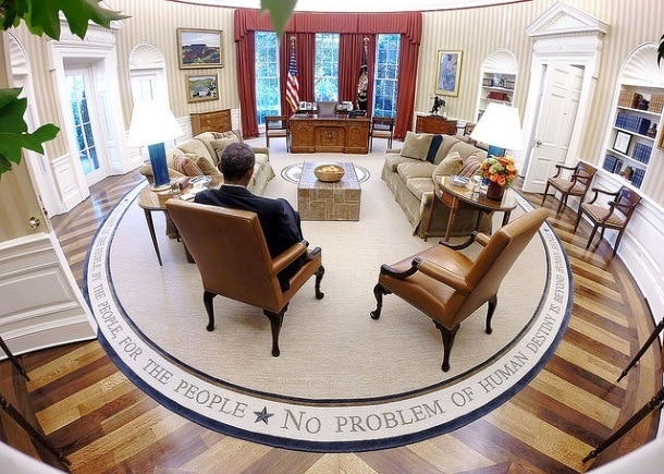 President Barack Obama in his redecorated Oval Office (Photo credit: The White House)