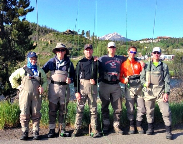 My niece, Siobhan, was the lone gal in our crew to join the fly-fishing adventure at Snake River near Keystone ~ Keystone Ski Resort in Summer