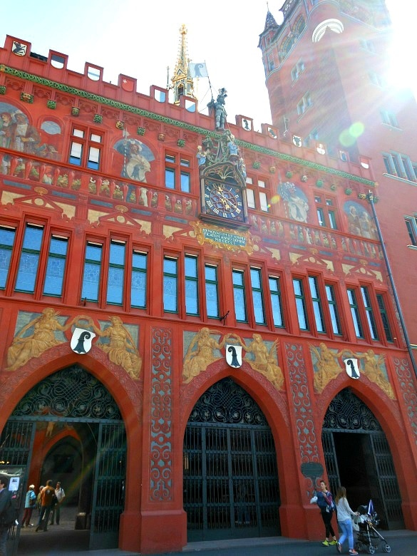 Basel's colorful Town Hall, Rathaus in Switzerland