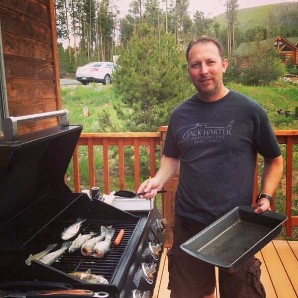 Fresh-caught fish grilled up by my brother, Mike, back at our cabin ~ Keystone Ski Resort in Summer