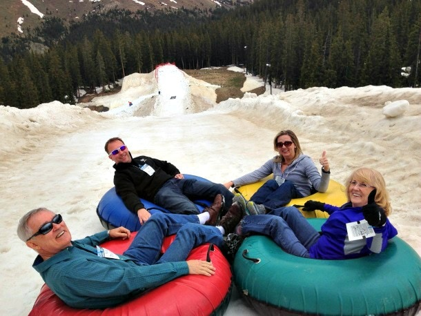 Do I look a little nervous on my yellow inner-tube on our first slide down the hill? That's only because I am! ~ Keystone Ski Resort in Summer (Photo credit: Travel Mamas)