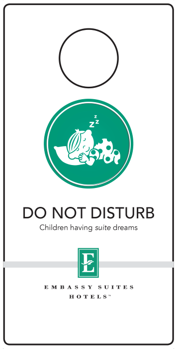 Let other hotel guests know you have a baby or child sleeping in your room with these handy (and adorable!) Embassy Suites Do Not Disturb signs