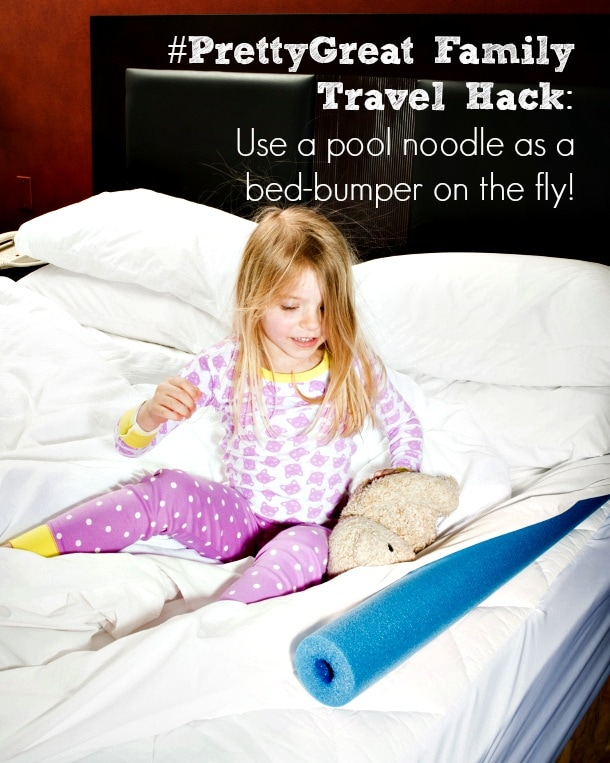 Embassy Suites #PrettyGreat Family Travel Hack: A pool noodle can act as a bed-bumper on the fly.