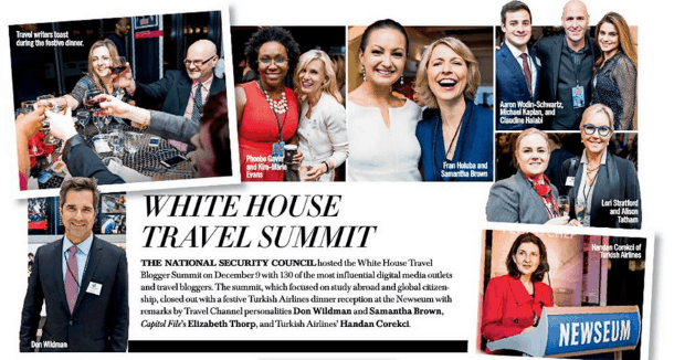 The Travel Mama is pictured at the top left toasting her fellow White House Travel Bloggers in this spread in Capitol File Magazine (Photo credit: Capitol File Magazine)