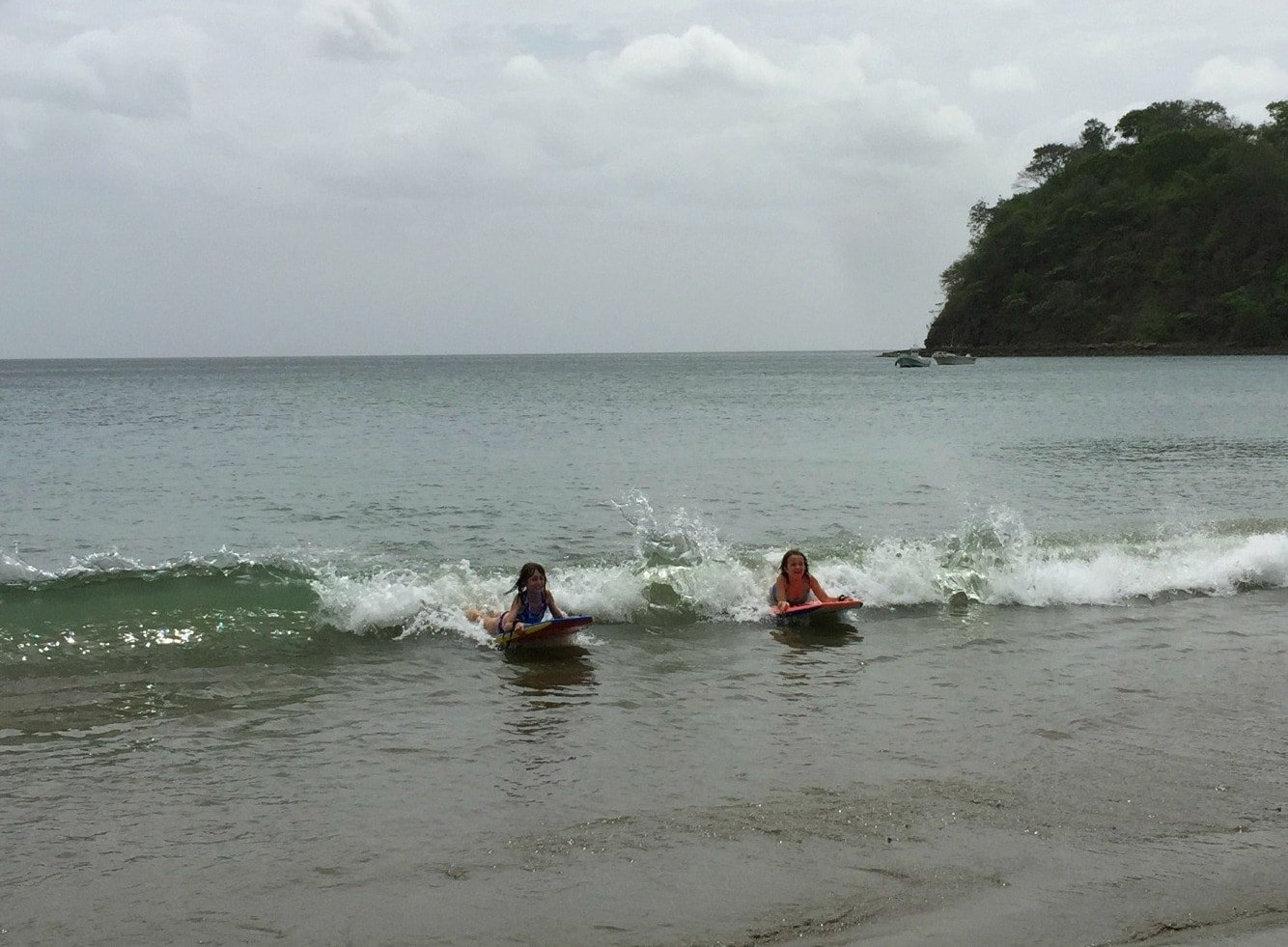 Boogie boarding at El Jobo Beach in Guanacaste, Costa Rica